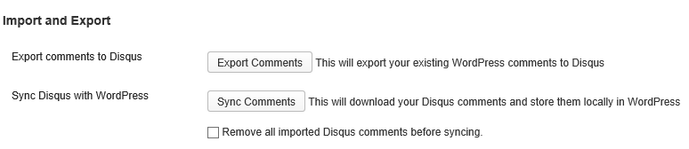 Import and Export from WordPress to Disqus